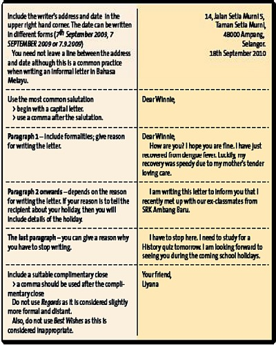 informal letters essays samples form 1 holiday Formal english: we use it when writing essays for school, cover letters to apply for jobs, or emails and letters at work informal english: we use it with friends, children, and relatives the following list will help you to recognize the informal and formal ways of saying the same thing.