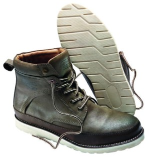 Rugged boots. Footwear is expressed in designs reminiscent of mountain  climber lacing systems.