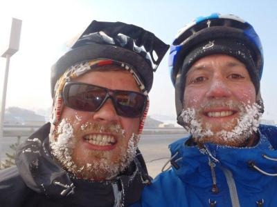 <b>Frozen out:</b> Not even sub-zero temperatures could wipe the smiles off