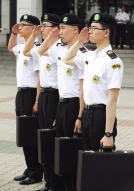 Eager to serve: Students of the Department of Military at Konyang University. Military schools are gaining popularity as an option for young people to survive the economic slowdown and increasingly competitive job market in South Korea. — The Korea Herald