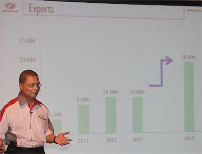 Presentation on Perodua's 2012 performance by managing director, Datuk Aminar Rashid Salleh. - THE STAR/SAMUEL ONG