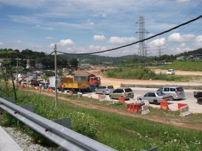 It's a daily affair: Even in the afternoon, traffic jam can be seen along Jalan Rawang-Batu Arang from Rawang town heading