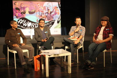 'New Malay Literature: The Changing Face Of The Malay Author' was one of the panel sessions at the lit fest with the session including (from left) writer Uthaya Shankar, moderator Umapagan Ampikaipakan, playwright Alfian Sa'at, and author Gina Yap. — PopDigital